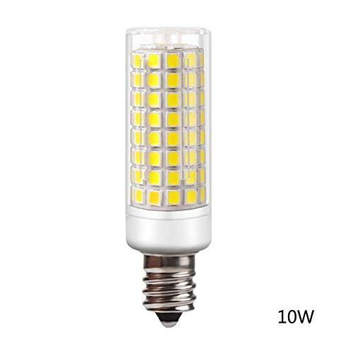 Calistouk E12 Maiskolben-LED-Lampe, Keramik-Sockel, dimmbar, LED-Halogen-Glühbirne, Ersatz für Zuhause Beleuchtung, cool White, 10W 110V (Keramik Kandelaber-sockel)