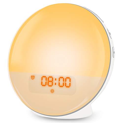 Wake Up Light, Lichtwecker LED mit Sonnenaufgangssimulation, Tageslichtwecker FM Radio Wecker mit Licht 7 Farben, 7 Wecktöne Alarm Clock Digital Uhr Nachtlicht Nachttischlampe für Kinder Erwachsenen