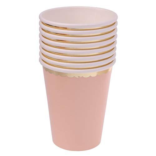 Myriad Choices 8 Stück Einwegbecher Pappbecher Trinkbecher Becher Papierbecher Einweg Papier Einfarbig - Rosa, 270 ml