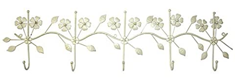 Set Of 5 Cream Hooks With Floral Decorations by marymarygardens