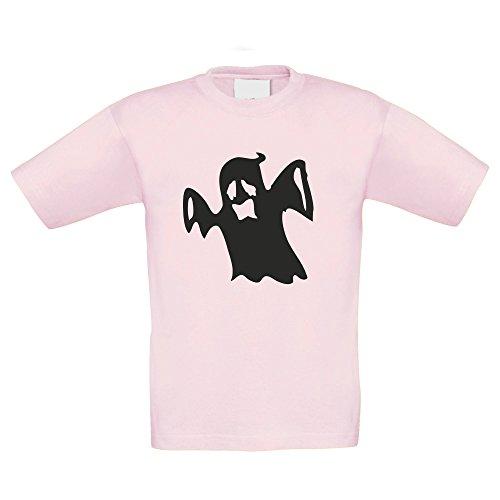 T-Shirt Kinder Halloween - Gespenst, rosa-schwarz, 98-104