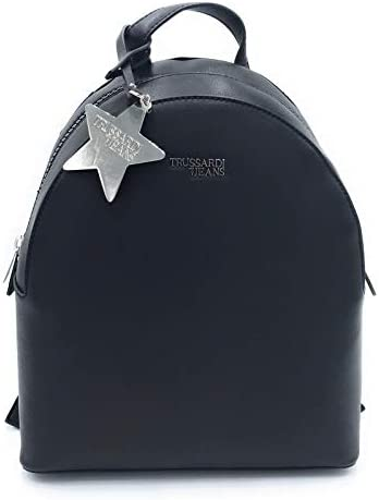Trussardi Jeans T-Easy T-Easy T-Easy Backpack Charm Star Logo, Zaino Donna, Nero (nero), 26x30x11.5 cm (W x H x L) | Buy Speciale