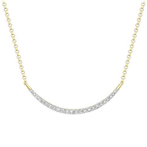 Carissima Gold Damen-Collier 9ct Yellow Diamond Crescent Bar Adjustable Necklet 41cm/16 inches-46cm/18 inches 375 Gelbgold Diamant (0.15 ct) weiß Rundschliff 46 cm-1.61.774Y - Crescent-kollektion