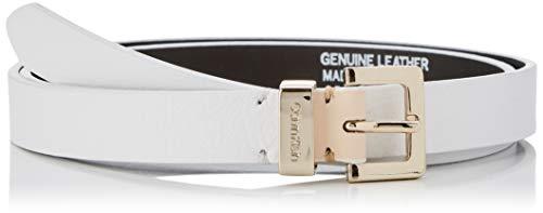 Calvin Klein Damen 2CM Metal Loops Belt Gürtel, Weiß (Bright White 107), 6641 (Herstellergröße: 90)