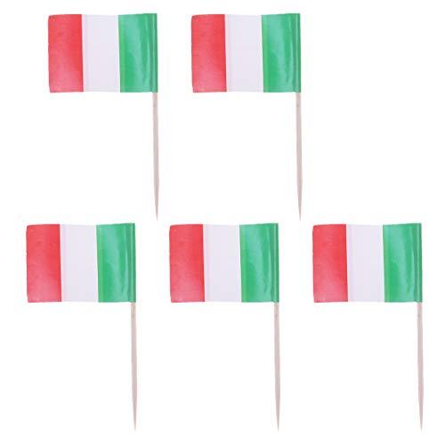 Italien Flagge Cupcake Topper Holz Zahnstocher Kuchendeckel Picks Cocktail Sticks für Party Kuchen Dekoration Lieferungen ()