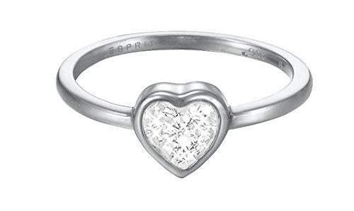 Esprit Damen-Ring JW50037 Messing rhodiniert Zirkonia weiß Herzschliff Gr. 57 (18.1) - ESRG02764A180