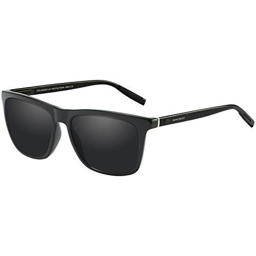 WHCREAT Unisex Retro Polarisierte Sonnenbrille Vintage Mode Design Fahren Ultraleicht Spiegel Linse für Herren und Damen - Schwarze Arme Schwarze Linse