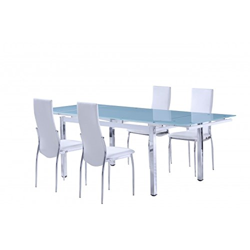 Mesa de comedor extensible en cristal 8mm Durano