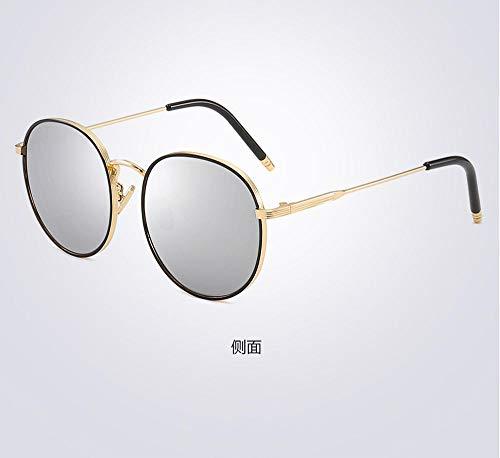PPOEEWF Polarisierte Sonnenbrille, Neue koreanische runde Fassung, Damen, polarisierte Sonnenbrille, UV-Schutz, Damenbrille, Schutzbrille @ A2