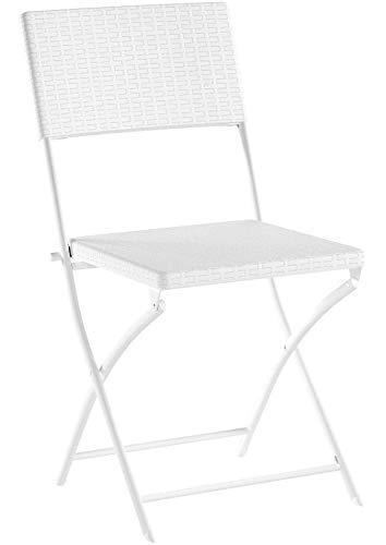 Relaxdays Klappstuhl BASTIAN, Gartenstuhl klappbar HBT 82 x 44 x 50 cm, Balkonstuhl, Rattan-Optik, weiß (1er Pack)