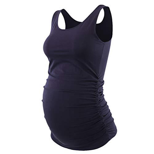 Yying Umstandsmode Baumwolle T-Shirt Kleidung Sommer Schwarz Grau Tank Tops Tees Für Schwangere Schwangerschaft Tragen T-Shirt Marineblau M