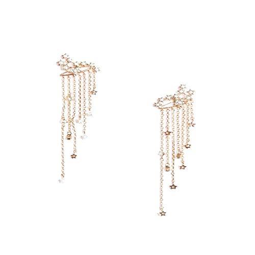 Fashion Bohemian Legierung Quaste Ohrringe mit Stern Anhänger Gold Silber Farbe Lange Ohrringe feiner Schmuck Geschenk für Frauen Einheitsgröße Gold-Color