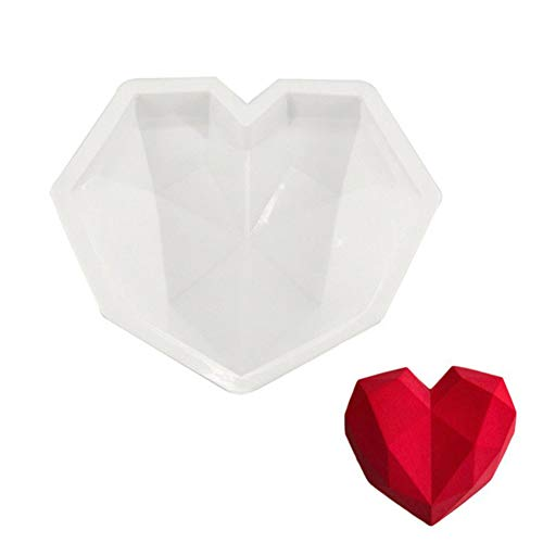 FOReverweihuajz Weiße Diamant Herzform Silikon-Form für Mousse Pudding Schokoladen Dessert Kuchen Küche Back Werkzeuge-einfach zu reinigen-Geschenk für Ihre Liebe