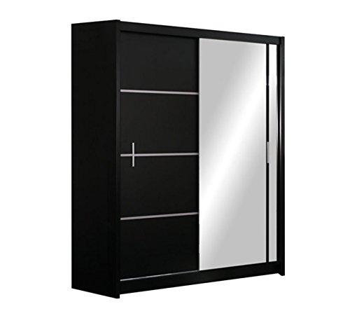 Mirjan24  Kleiderschrank Rapid, Schwebetürenschrank mit Spiegel, Schiebetür, Elegantes Schlafzimmerschrank, Schlafzimmer, Jugendzimmer (Schwarz/Spiegel, 150 cm)