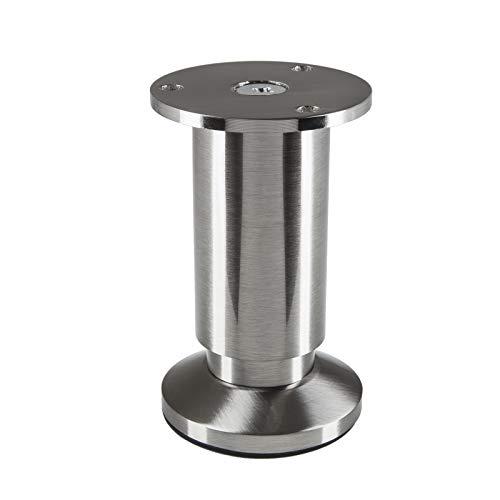 Möbelfuß verstellbar Schrankbein Edelstahloptik gebürstet, belastbar bis 250 Kg, Höhe: 100 mm von SO-TECH