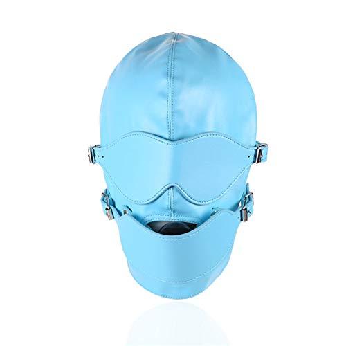 Leder Voll-Face Cover Breathable Blindfold Mask Open Mund-Koffer Gag Cosplay Kostüm Sex Suit Headgear Adult Games (Adult Sex Kostüme)