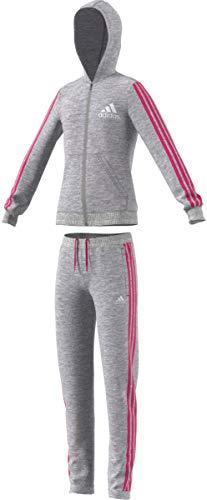 adidas Mädchen Hooded Trainingsanzug Medium Grey Heather/Real Magenta/White 152