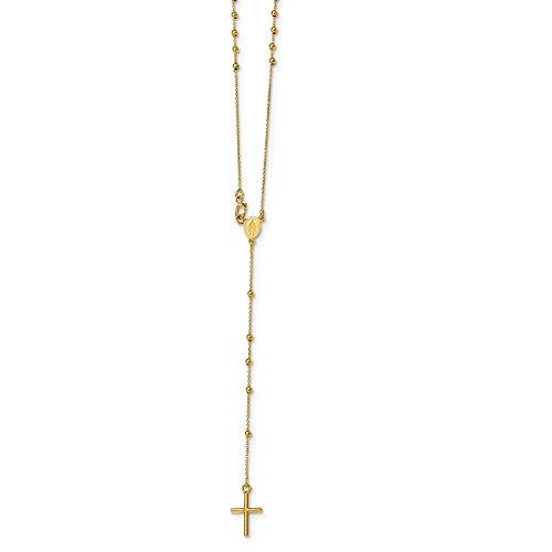 Diamond2Deal Damen 14K Gelb Gold Rosenkranz Halskette 41,9cm