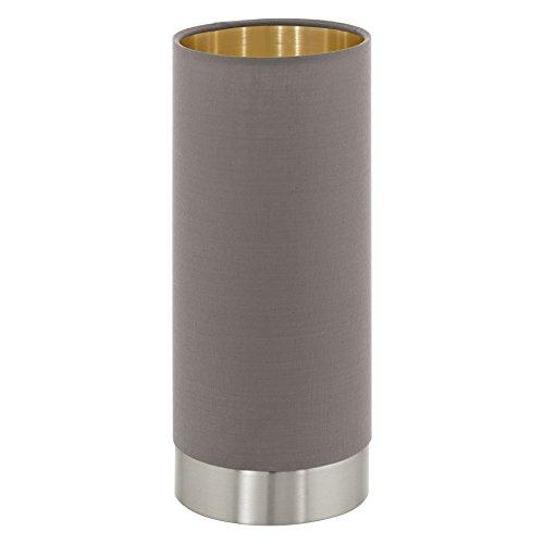 EGLO Tischleuchte, Stahl, E27, Nickel-Matt, Cappuccino, Gold, 12 x 12 x 25.5 cm (Schlafzimmer-kollektion Nachttisch)