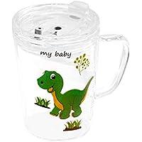 UPKOCH 1 vaso de cristal con pajita y tapa, para microondas, gran capacidad, para niños, con báscula para bebés y niños (dinosaurio)