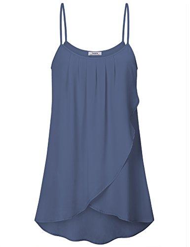 Youtalia Damen Camisole Top, Sommer Kleidung Urlaub Casual Cool Strappy Tops Ärmellose Chiffon Top,Blau Grau M