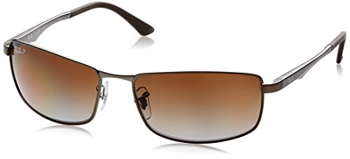 Ray-Ban Herren Sonnenbrille Mod. 3498 Matte Gunmetal/Grey Gradient Brown Polar One size (61)