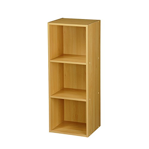 TOP Marques Collectibles 1, 2, 3, 4 Etagen Holz Bücherregal Regalsystem Display Aufbewahrung Holz Regal Böden Einheit, Beech, 3 Ablagefächer -