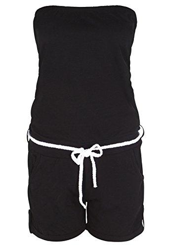 Stitch & Soul Damen Bandeau Jumpsuit |  Sexy Einteiler aus bequemen Jersey Material schwarz L