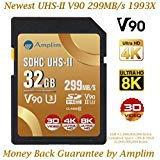 Amplim UHS-II SD-Karte: Ultra Fast 285 MB/s (1900X), V60, U3, Class 10 SDXC Speicherkarte für 4K, Full HD, 3D, HDR, 360 Video Gold Gold V90 32 SD 32GB