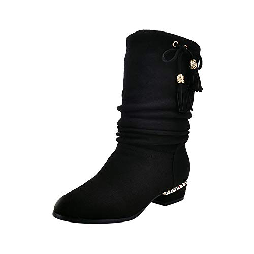 Winterstiefel Damen Stiefel Xinantime Damen Frauen Stiefel Quadrat Fersen Plattform Leder Boots Schenkel-hohe Pumpe lädt Sunday Schuhe 35-43
