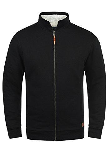 BLEND Tedox Herren Sweatjacke Zip-Jacke mit Teddyfutter und Stehkragen aus hochwertiger Baumwollmischung Meliert, Größe:L, Farbe:Black (70155)