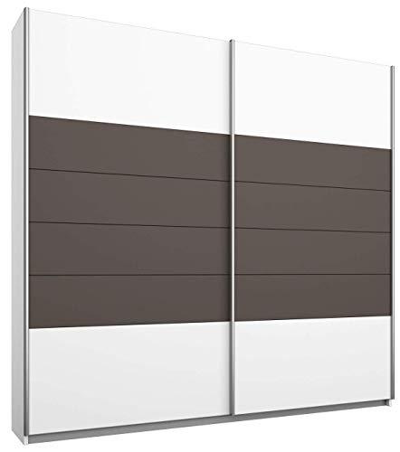 Rauch Schwebetürenschrank Weiß 2-türig, Absetzungen Lavagrau, BxHxT 181x210x61 cm