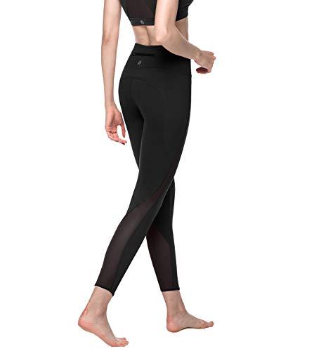 LAPASA Damen Sport Mesh Leggings - TUMMY CONTROL - High Waist Lang Yoga Sporthosen mit Taschen Tights Gym Fitness L22 (Schwarz, L)