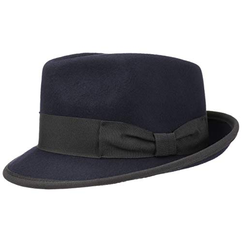 Lipodo The Classic Wool Trilby Filzhut Wollhut Wollfilzhut Hut Trilbyhut Fedora Fedora-Hut für Damen Herren mit Ripsband Sommer Winter (M (56-57 cm) - dunkelblau)
