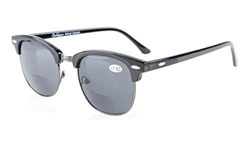 Eyekepper Halbrand Bifocal Sonnenbrillen der Frauen Männer Grau Linse +1.5