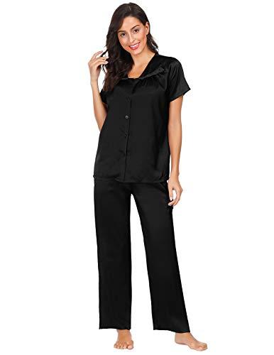 Zexxxy Schlafanzug Damen Pyjama Satin Lange Button-Down Nachtwäsche mit Hosen Hausanzug Sleepwear (Medium, K-Schwarz)