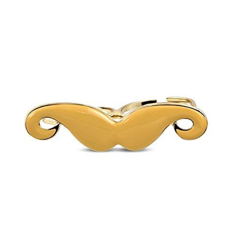 Mode-Legierung Rose / Rosa-Goldfarbe überzogen orange Enameled Schnurrbart Stecker Zwei-Finger-justierbarer Ring (Ring Zwei-finger-schnurrbart)