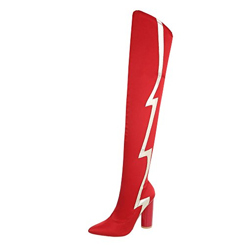 Ital-Design Overknees Damen-Schuhe Overknees Pump High Heels Reißverschluss Stiefel Rot, Gr 41, Jr-010-