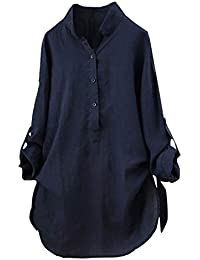 51b52960413 Lazzboy Womens Blouse Long Sleeve Cotton Stand Collar Loose d Button Shirt  Tunic Tops