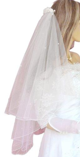 ladyMYP© 2lg Brautschleier mit Kopfschmuck aus Satinrosen & Perlen,60/80 cm, weiß / ivory(hellcreme, Elfenbein) (Weiß)
