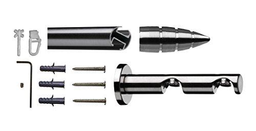 Tilldekor Innenlauf Gardinenstange MENORCA, 2-Lauf,  edelstahl optik, Ø 20 mm, 160 cm, inkl....