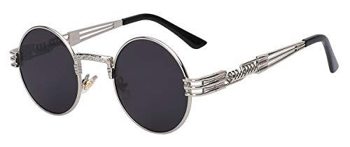 DYFDHA Sonnenbrillen Luxury Metal Sunglasses Men Round Sunglass Steampunk Coating Glasses Vintage Retro Lentes Oculos Of Male Sun Silver w black lens
