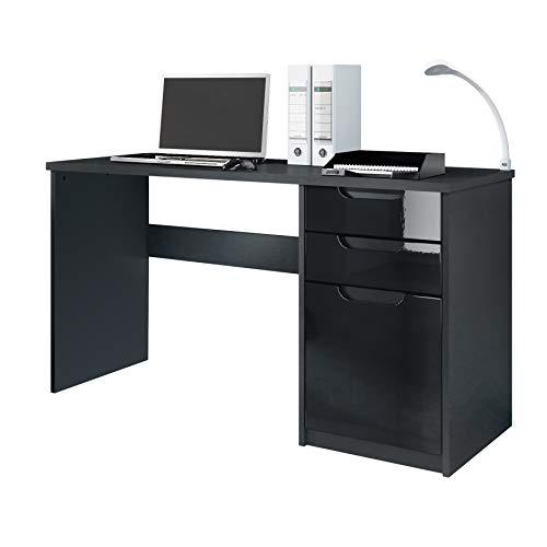 Vladon Schreibtisch Computertisch Büromöbel Logan, Korpus in Schwarz matt/Fronten in Schwarz Hochglanz -