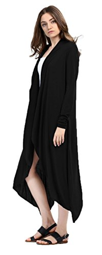 Femmes Sexy Mode Printemps manches longues Long Irregular Cardigan Trench Coat Noir