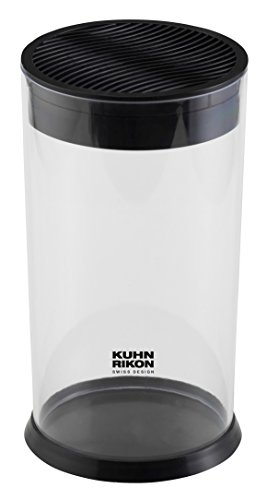 Kuhn Rikon 26565 Vision Messerblock 12x 22,5cm, rund, schwarz, transparent, unbestückt, leer, für Verschiedene Messer, plastik, (Von Besteck Die Speicherung)