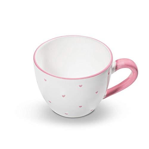 GMUNDNER KERAMIK Teetasse Maxima Füllmenge : 0.4 Liter Herzerl Rosa Geschirr, handgemacht in Österreich