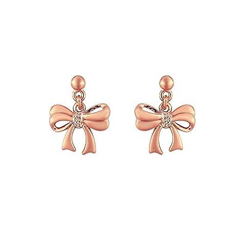 Ivy Gems Rose Vergoldet 925Sterling Silber Diamant-Set Ohrringe Schleife