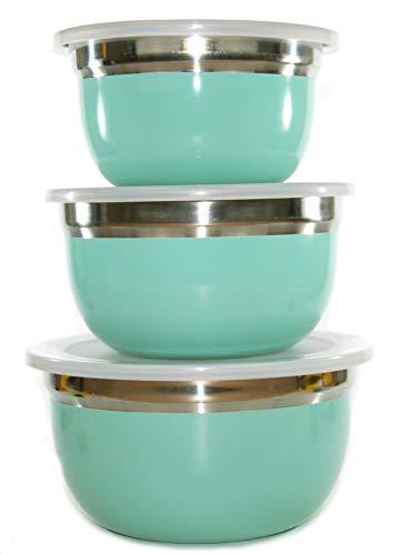 Ernesto - set di 3 ciotole in acciaio inox con coperchio in plastica, 4 in 1, per servire e preparare il freezer, colore: verde chiaro