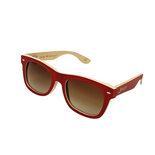 MELON Unisex Polarisierte Sonnenbrille aus Bambusholz, UV400, Woodys Sunshades Bamboo, Rot/Braun