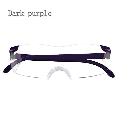 Portable High-Definition-Lupe, Brille Grad 300 Grad, Mobile Lesung Alter Mann Und Lesebrille, Ergonomisches Design (Color : Dark Purple)
